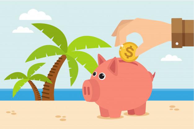 wakacje kredytowe świnka skarbonka na plaży