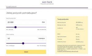 Pożyczka gotówkowa Aion Banku screen ze strony